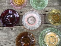 vintage colored glass dishes....Mintage Rentals provides modern + vintage rentals for staging and special events.