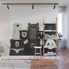 If you've been longing to make a statement in your home, you will be pleased to know that there are loads of gorgeous wall mural ideas to choose from....   Bear Family Portrait #WallMurals #WallDecor #Murals #WallMuralIdeas #WallMural #Mural Portrait Wall, Fabric Panels, Mild Soap, Brown Bear, Second Floor, Family Portraits, Wall Murals, Vibrant Colors, Wall Decor