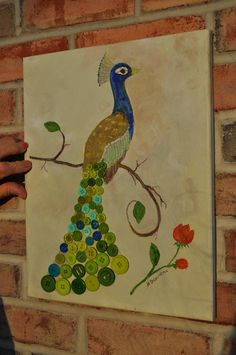 Peacock Button Art on Canvas by CreationsfromAri on Etsy