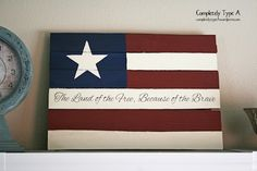 US flag from fence wood