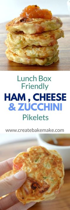 Ham Cheese & Zucchini Pikelets These Ham, Cheese and Zucchini Pikelets make a great snack for the whole family. Both regular and Thermomix instructions are included. Lunch Snacks, Savory Snacks, Healthy Snacks, Healthy Lunchbox Ideas, Kid Snacks, Baby Food Recipes, Cooking Recipes, Appetisers, Kos