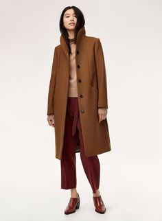 The longer version of Wilfred's streamlined, beautifully structured Cocoon coat has a cozy collar that can be worn up or down. It's made with an exceptionally warm wool-cashmere fabric from a premier Italian mill. Cashmere Fabric, Cashmere Coat, Long Wool Coat, Wool Coats, Stylish Coat, Winter Coat, Timeless Fashion, Coats For Women, Style