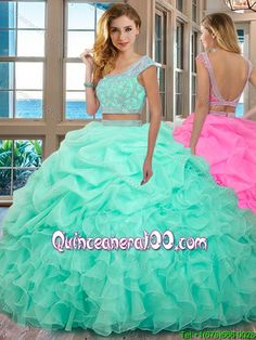 52581f0d02 Puffy Scoop Organza Ruffled and Beaded Cap Sleeves Backless Mint Two Piece  Quinceanera Dresses Mint Quinceanera