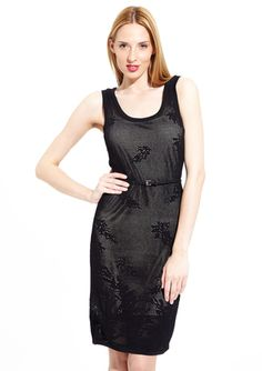 CARMEN CARMEN MARC VALVO Sleeveless Pointelle Scoop Neck Dress @ideeli