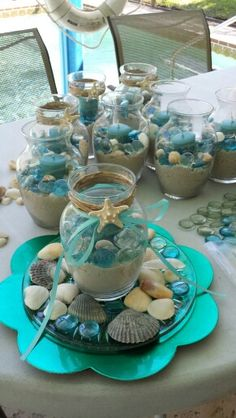 34 trendy Ideas for wedding beach centerpieces diy party ideas Beach Theme Centerpieces, Wedding Decorations, Beach Centerpiece Wedding, Nautical Centerpiece, Seashell Crafts, Beach Crafts, Mermaid Baby Showers, Beach Bridal Showers, Beach Wedding Favors