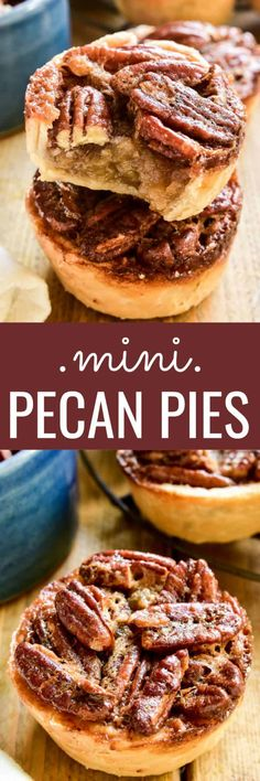 Mini Pecan Pies are the most delicious holiday treat! Made with just a handful of ingredients, these pies come together in no time and are perfect for holiday gatherings. They have all the flavors of pecan pie you know and love, from the crunchy pecans Mini Desserts, Easy Desserts, Delicious Desserts, Vanilla Desserts, Jello Desserts, Desserts Menu, Indian Desserts, Vegan Desserts, Dessert