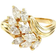Marquise Diamond Cluster Waterfall Bypass Ring 14K Yellow Gold