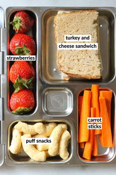 Makes a classic turkey and cheese sandwich the main event in your next meal prep! Bento Box Lunch, Lunch Snacks, Lunch Recipes, Baby Food Recipes, Healthy Lunches For Kids, Healthy Meal Prep, Kids Meals, Healthy Snacks, Boite A Lunch