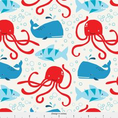 Octopus + Shark Fabric - Sea Monsters By Lizmytinger - Baby Nautical Nursery Decor Cotton Fabric By The Yard With Spoonflower