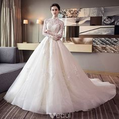 Chic / beautiful champagne wedding dresses 2018 ball gown lace appliques hi Wedding Dresses 2018, Luxury Wedding Dress, Bridal Dresses, Bridesmaid Dresses, Sequin Wedding, Ivory Wedding, Classic Wedding Gowns, Long Sleeve Wedding, Mermaid Dresses