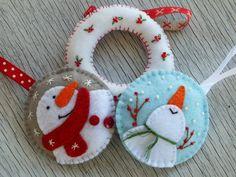 Christmas Felt Ornaments Snowmen van BULAVKI op Etsy