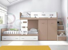 kids room ideas, kids shared room ideas, kids room ideas shared loft for small space Twin Bedroom Sets, Baby Bedroom, Kids Bedroom, Bedroom Decor, Bunk Beds With Stairs, Kids Bunk Beds, Kids Room Design, Bed Design, Small Rooms