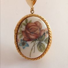 Flower Locket necklace Gold tone flower locket Jewelry Necklaces