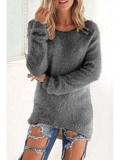 1caf4bb4cd Round Neck Asymmetric Hem Plain Sweaters - Onlyyo.com Beige Sweater