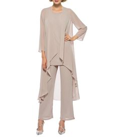 Details about Chiffon Mother Of The Bride Pant Suits 3 Pieces Long Sleeve Formal Party Gowns Mother Of The Groom Suits, Mother Of Groom Dresses, Mothers Dresses, Bride Dresses, Linen Dresses, Dresses Uk, Bridesmaid Dresses, Wedding Dresses, Wedding Pantsuit