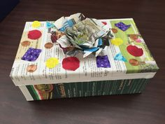 A decorated shoebox for the Boxed For Success School Supply Drive Contest