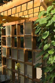 Glass block and wood screen