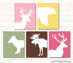 Woodland nursery, animal art, Deer, bear, fox, elk and moose. | Alley Kids : Art for Kids