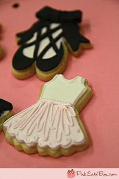 Tutu dress and ballerina shoe cookies