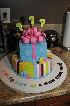 Gender Reveal cake......being that the couple only found out the...