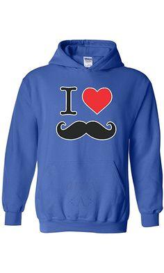 Artix I Heart Mustache Unisex Hoodie Sweatshirts Medium Royal Blue Best Price