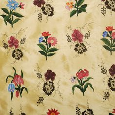"""Hand embroidered silk fabric, """"Toile"""" by Lost City"""