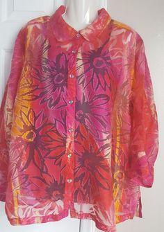 Choices Woman Fuchsia Plus Size 3X Floral Burnout Rayon Blend Sheer Blouse Shirt #Choices #ButtonDownShirt #Casual