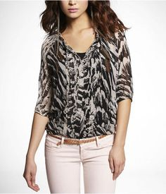 Pleated-Front Banded Bottom Blouse