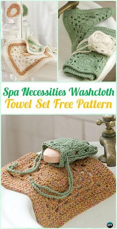Crochet Spa Necessities Washcloth  Towel Set Free Pattern - Crochet Spa Gift Ideas Free Patterns