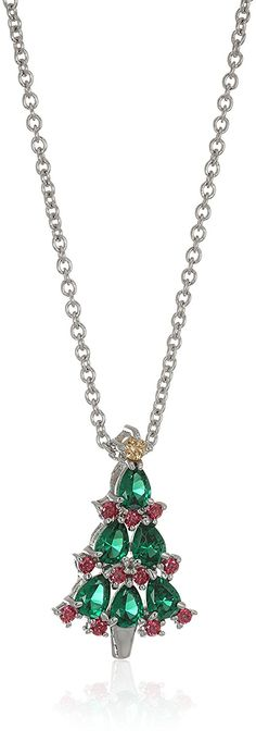 Platinum-Plated Swarovski Zirconia Red and Green Christmas Tree Pendant Necklace, 16' 2' Extender >>> Check this awesome product by going to the link at the image. (This is an Amazon Affiliate link and I receive a commission for the sales)