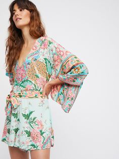 Free People x Spell Peacock Lotus Kimono Romper at Free People Clothing Boutique
