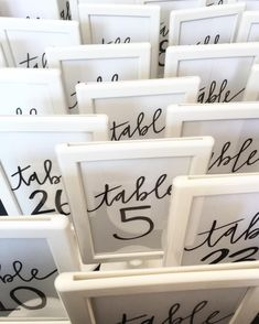 DIY Ikea table numbers. Calligraphy by Sea Calligraphy.
