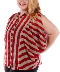 Another great find on #zulily! Red & Khaki Stripe Button-Up Top - Plus by Yummy #zulilyfinds