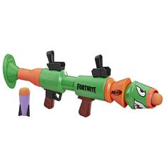 Take your Fortnite action into real life with this blaster that fires big foam rockets! Show the competition that you're in to win with the rocket-firing Nerf Fortnite RL blaster! Hand-powered - no batteries required.