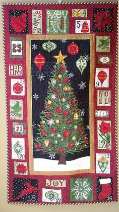 Quilted Christmas Tree Advent Calandar Embellished by djwquilts