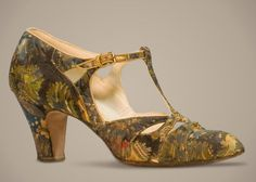 D'Orsay Pumps - c. 1927 - Design by Woodward & Lothrop - Silk, leather, metal, glass, wood - FIDM Museum & Galleries