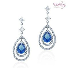 Silver Created Sapphire Elegant Drop Earrings at 88% Savings off Retail!  27.00  at nomorerack
