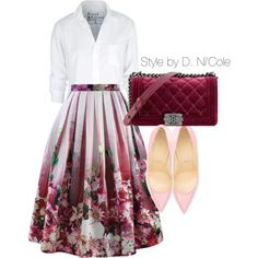 A fashion look from April 2015 featuring white blouses, midi skirt and red sole shoes. Browse and shop related looks.