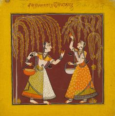 Two girls gathering flowers from trees and putting them in baskets. Illustration to the musical mode, Vasanti Ragini. Inscribed in Takri on the top border.  Kulu, India. Date  ca. 1700 - ca. 1710.