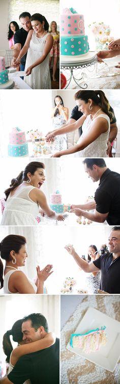 Baby Gender Reveal cake, wait how cute!