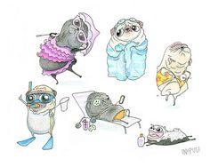 Beach Pugs Art Print!