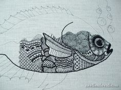 Currently obsessed with: Blackwork Fish embroidered in various weights of black silk thread