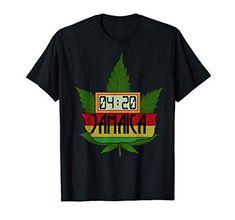 420 Jamaica Rasta Weed Smoking Cannabis Stoner Rastafari T-Shirt Weed Shop, Rasta Colors, Stoner, Jamaica, Cannabis, Holidays, Humor, Sleeve, Classic