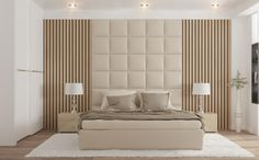 This room demonstrates symmetry because it is equal on both sides of the room. The headboard helps emphasize the symmetry in the room. Hotel Bedroom Design, Bedroom False Ceiling Design, Master Bedroom Interior, Modern Master Bedroom, Bedroom Furniture Design, Modern Luxury Bedroom, Modern Bedroom Design, Luxurious Bedrooms, Bedroom Designs