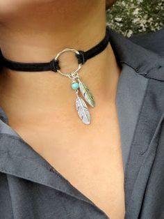 Choker Necklace, Suede Choker Necklace,  Bohemian Feather Necklace, Native American Jewelry, Ring Choker, Leather Choker, Boho Jewelry,