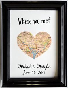 Custom Wedding Anniversary Gift For Couples Personalized Map Art Engagement Gifts Map Heart Print Where We Met Proposed Presents Fiance Him