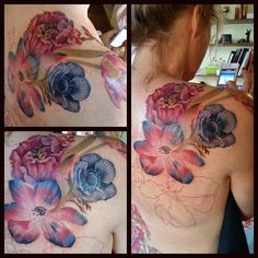 Session number two (a total of three) of my floral upper back tattoo.  Design in collaboration with tattoo artist Annicka Westerlund at PMS/Pimp My Skin studio in Tungelsta, Sweden.  Photo by the tattooist herself.