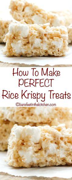 How To Make PERFECT Rice Krispy Treats - get the recipe at barefeetinthekitchen.com