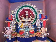 goddess durga made by postal stamps