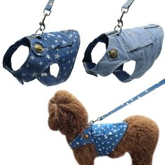 Buy Denim Dog Harness and Leash Jeans Pet Vest Jacket For Small Puppy Dogs Teddy Poddle Chihuahua Yorkies Vest 3 Size S M L Dog Vest, Dog Jacket, Pet Puppy, Pet Dogs, Pets, Small Puppies, Dogs And Puppies, Yorkie, Vintage Decor